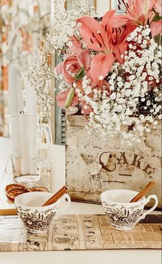 Creating a beautiful dining room table with a vintage styled Valentine's Day Centerpiece.