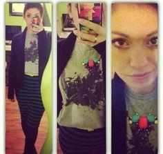 Striped Skirt + Belt - Forever 21 | Graphic Tank - Bluenotes Mens | Sweater - Loft | Necklace - H&M