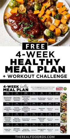 To help you start the year off right we've created a free 4-Week Healthy Meal Plan!! A full 4-week healthy meal plan PLUS grocery list to make it as easy as possible for you! PLUS to make it even better, we've teamed up with our favorite fitness trainer who put together a 4-Week Workout Challenge that includes a new workout for each day (minimal equipment needed, less than 45 minutes!), full-length videos and workouts that can be completed in the comfort of your own home! Healthy Eating Meal Plan, Healthy Dinners, Lunches And Dinners, Clean Eating Recipes, Meal Prep Menu, Easy Meal Prep, Week Workout, Workout Challenge, Real Food Recipes