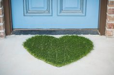 Heart Synthetic Grass Doormat Rug Wall Art Decor by agokc