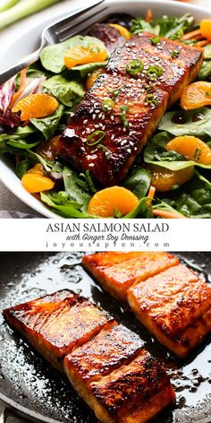 A delicious and simple Asian Salmon Salad recipe that is low carb, healthy and so flavorful! Drizzled with the tasty homemade Ginger Soy Dressing! Seafood Salad, Pasta Salad, Cobb Salad, Sea Food Salad Recipes, Salmon Salad Recipes, Easy Asian Recipes, Healthy Recipes, Recipes With Ginger, Asian Dinner Recipes