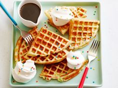Belgian Birthday Waffles : Make these yeasted waffles for someone special's birthday and they'll forget all about cake! Letting the batter ferment gives the waffles a malted flavor and makes them extra golden and crispy. The pop of confetti sprinkles mimics the crunchy pearl sugar found in some Belgian waffles.