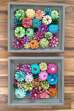 These Creative DIY Spring Crafts Will Instantly Brighten Your Home - Garden ideas - Framed Flower Pine Cone Decorcountryliving - Pine Cone Art, Pine Cone Crafts, Pine Cones, Pot Mason Diy, Mason Jar Crafts, Picture Frame Ornaments, Easy Crafts, Kids Crafts, Kids Diy