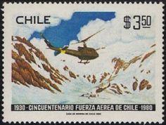 """Reproducción del óleo """"Rescate en los Andes"""" (1979), del pintor Sergio Olivares, en estampilla chilena de 1980."""