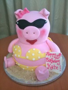 Fondant covered pig ~ so cute! Fancy Cakes, Cute Cakes, Fondant Cakes, Cupcake Cakes, Piggy Cake, Rosalie, Animal Cakes, Gateaux Cake, Novelty Cakes