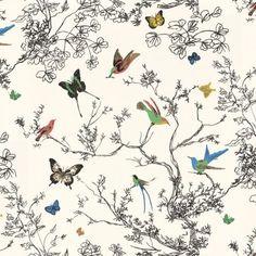 Schumacher Birds & Butterflies Multi On White Wallpaper Mint Wallpaper, Wallpaper Size, Butterfly Wallpaper, Wallpaper Samples, Wallpaper Online, Pattern Wallpaper, Wallpaper Backgrounds, Bathroom Wallpaper, Floral Wallpapers