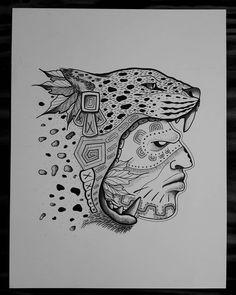 Image may contain: drawing Mayan Tattoos, Mexican Art Tattoos, Inca Tattoo, Chicano Drawings, Chicano Art, Aztec Tattoos Sleeve, Native Drawings, Jaguar Tattoo, Mexican Artwork