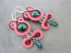 Pink/ Emerald...soutache by RidgwaysSk on Etsy, €19.90