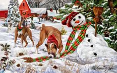 """New for 2012! Boxer Christmas Holiday Cards are 8 1/2"""" x 5 1/2"""" and come in packages of 12 cards. One design per package. All designs include envelopes, your personal message, and choice of greeting. Select the inside greeting of your choice from the menu below.Add your custom personal message to the Comments box during checkout."""