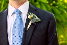 The groom's dapper look. ::Elaine + JT's intimate backyard wedding at their home + the Metro Diner in Jacksonville, Florida:: #bluetie #boutonniere #fashion #weddingphotography