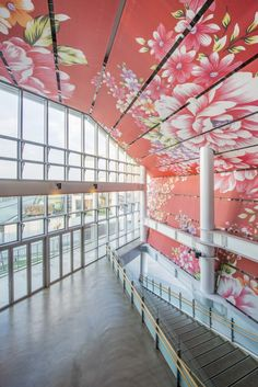 Local elements are generously expressed on the printed facades, fabric-paneled ceiling and perforated metal wall sheets