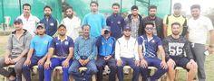Players of Jammu Cricket Club posing alongwith Director Country Cricket Academy Vikrant Sharma.