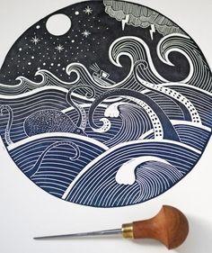 Octopus Print, Whale Print, Linocut Prints, Art Prints, Block Prints, Lino Art, Scratch Art, Linoprint, Landscape Prints