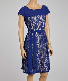 Lapis & Nude Overlay Tie-Waist Dress - Women by Julian Taylor on #zulily #ad *beautiful