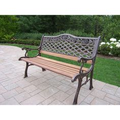 Oakland Living Corporation Dakota Sun Cast and Wrought Iron Bench