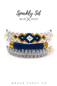 Sparkly Set in Navy Blue by @WeaveTassyCo | This stackable bracelet set is the perfect everyday bracelet to complete your look. This layering bracelet stack will give you the extra sparkle you need for an effortlessly classy look! Click the image to see more.
