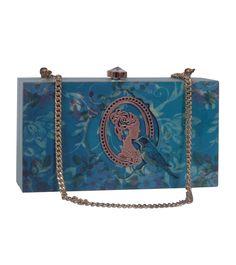 Blue Embroidered Rubber Wood Master Piece Clutch #indianroots #bags #clutch #wood #rubber #embroidered  #occasionwear #eveningwear