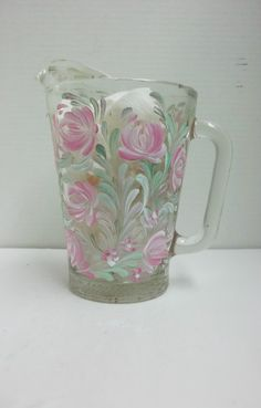 Glass Pitcher Water Pitcher Hand Painted by FolkArtByNancy on Etsy