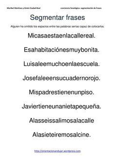 Conciencia fonológica.- Segmentacióndepalabras