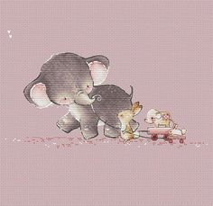 Elephant and Bunny Friends Counted Cross Stitch Pattern Cute animal cross stitch Instant download printable PDF file Baby animals chart