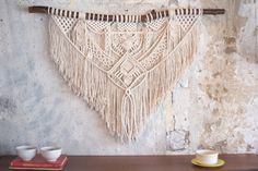 **This piece has sold** If you purchase this listing, you are placing a custom order for a replica. Please keep in mind that your end product might differ slightly from the images above.  Size is approximately: Driftwood: 120 cm (47) Macrame length: 90 cm (39)  Material: Cotton rope, driftwood Colour: Natural   If you have any questions or request dont hesitate to contact us…
