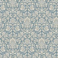Delicately coloured in tones of frosted cream and icy silver against a metallic blue background, our Foglavik wallpaper is inspired by the artistry and elegance of century interior styling. Featuring a pattern of densely clustered medallions, its be Damask Wallpaper, Home Wallpaper, Wallpaper Roll, Bedroom Wallpaper, Wallpaper Ideas, Ornament Tapete, Boutique Deco, Winter House, Diy Dollhouse