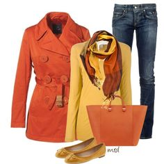 Fall colors! Love this! Would replace the jeans wiht chocolate brown pants for a great teacher outfit.