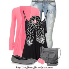 """Pink & Gray Leopard"" by steffiestaffie on Polyvore"