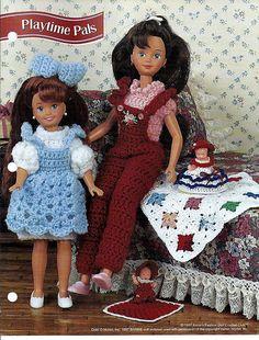 "Playtime Pals 7 1/2"" & 9 1/2"" fashion Doll gehaakt patroon Annies Fashion Doll haak Club FC29-02"