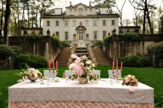 If this were an everyday occurance, I would be totally ok with that. Pink tea party on the lawn. This would be an amazing venue for a wedding. City Wedding Venues, Atlanta Wedding Venues, Wedding Locations, Sofia Coppola, Marie Antoinette, Perfect Pink, Pretty In Pink, Versailles, Lets Eat In