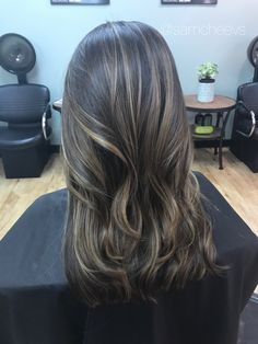 Brown dark brown black hair with blonde sandy Ashe caramel balayage ombré highlights for all hair types / Caucasian / Indian / Asian / Hispanic / ethnic hair types
