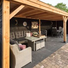Pergola For Small Backyard Back Garden Landscaping, Garden Bar, Deck With Pergola, Backyard Pergola, Pergola Kits, Backyard Office, Backyard Bar, Backyard Patio Designs, Indoor Outdoor Living