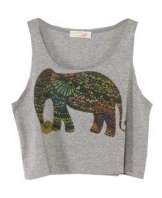 Ethnic Elephant Printed Tank - $12