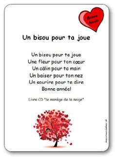 Kinderlieder Un bisou pour ta chee von Michle Bertrand Illustrierte Texte zum Ausdrucken quotUn bisou pour ta chequot Core French, French Class, French Lessons, French Poems, French Quotes, French Teacher, Teaching French, Quotes Valentines Day, Valentine Sday