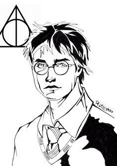 #HarryPotter #reliquiasdelamuerte #retrato #cómic #pelicula #film #blancoynegro #tintas #DanielRadcliffe #JLRowling