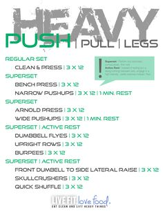 Push/Pull/Legs Weight Training Workout Schedule For 7 Days - Gewicht Ideen Push Pull Workout Routine, Push Pull Legs Workout, Push Workout, Workout Splits, Gym Workout Tips, Strength Training Workouts, Workout Schedule, Weekly Workouts, Workout Calendar