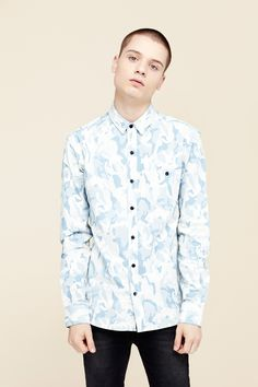 Denim Camo Shirt Light Wash by THE WHITEPEPPER http://www.thewhitepepper.com/collections/men/products/camo-shirt-light