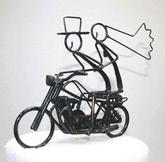 cool cake topper for a motorcycle themed wedding