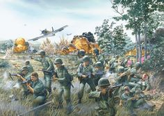 """Artist's conception of the """"Broken Arrow"""" air strikes during the Battle of Ia Drang, immortalized in the book We Were Soldiers Once… And Young"""