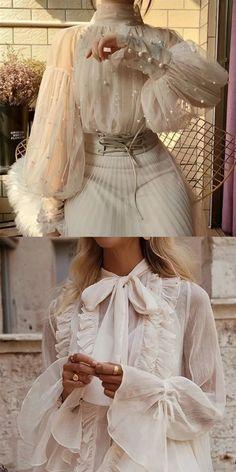 Look Fashion, High Fashion, Fashion Design, Fashion Fashion, Abaya Fashion, Fashion Watches, Fashion Ideas, Looks Party, White Lace Blouse
