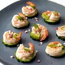 Super easy snack: Layer cucumbers, wasabi paste, avocado and cold shrimp.  (TIP:  Used salsa instead of the wasabi - gives it a fresh, Tex-Mex flavor!)