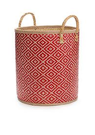 Elements Medium Red Palm Leaf Oval Basket