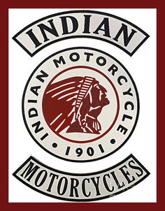 Photograph - Indian Motorcycles 1901 Vintage Sign - Red Border by Scott D Van Osdol , Triumph Motorcycles, Motorcycles In India, Vintage Indian Motorcycles, Harley Davidson Motorcycles, Motorcycle Logo, Motorcycle Companies, Mv Agusta, Bobber, Mopar