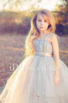 Fashion Grey Sleeveless Bow Tulle Girls Flower Girl Dress