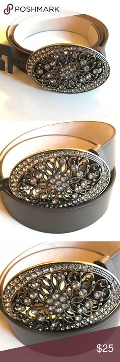 Style & Co Buckle Belt Selling one beautiful Style & Co Women's Rhinestones Buckle Faux Leather Belt. New with tag. Size M Style & Co Accessories Belts