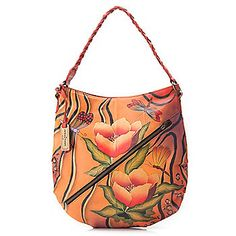 Anuschka+Hand-Painted+Leather+Hobo+Bag+w/+Optical+Case+&+Cosmetic+Pouch