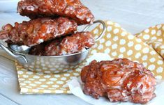 Apple Fritters-Sweet, doughy, apple filled goodness! These fruit filled pastries are soft and tart, much like an apple filled doughnut, and would make the ideal breakfast, brunch or dessert sweet treat. Serve them at party or family get together for a celebration or holidays like Mother's Day, Father's Day, and Christmas. They are also yummy for just the family on a lazy, Sunday morning.