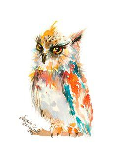 36 watercolor paintings of tiny owls - Owl watercolor 36 watercolor paintings o. Watercolor Paintings Of Animals, Owl Watercolor, Watercolor Projects, Animal Paintings, Paintings Of Owls, Art Deco Posters, Art Vampire, Vampire Knight, Owl Artwork