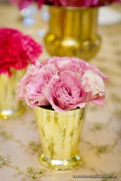 Soft Pink Flowers in Gold Vases for a Contrasting and Fabulous Look - Chris Humphrey Photographer - The French Bouquet Gold Ivory Wedding, Gold Wedding Theme, Wedding Events, Wedding Flowers, Wedding Ideas, Birthday Centerpieces, Birthday Party Decorations, Wedding Centerpieces, Centrepieces