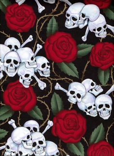 Fabric  Skulls and Roses  Alexander Henry Fat by GoofingOffSewing, $3.00